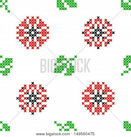 Seamless embroidered texture of abstract flat patterns, poppies with leaves, cross-stitch, ornament for cloth