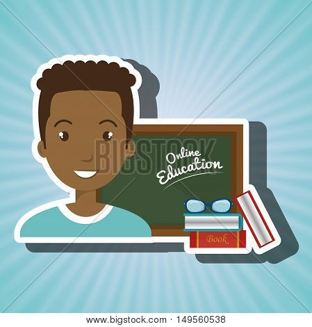 man student online education vector illustration eps 10