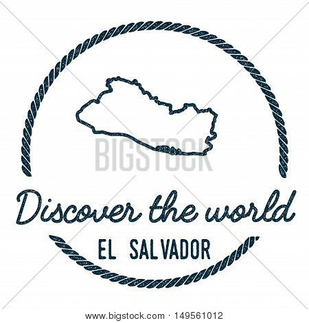 El Salvador Map Outline. Vintage Discover The World Rubber Stamp With El Salvador Map. Hipster Style