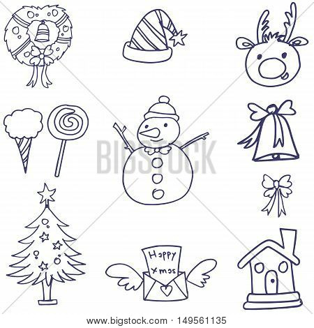Christmas doodle collection with hand draw vector illustration