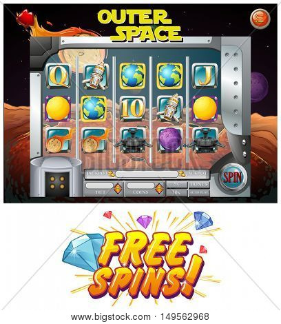 Computer game template with space theme illustration