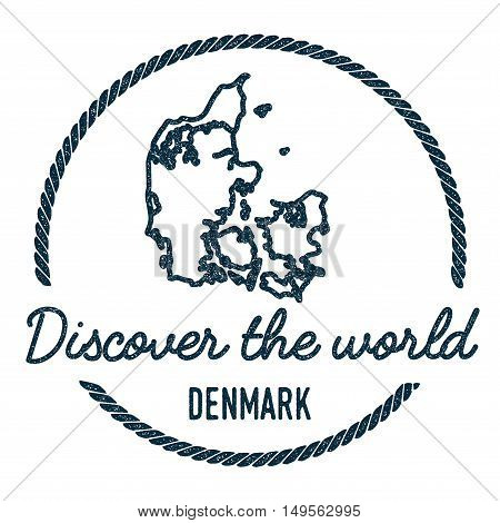 Denmark Map Outline. Vintage Discover The World Rubber Stamp With Denmark Map. Hipster Style Nautica