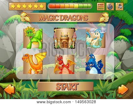 Computer game with dragon characters illustration