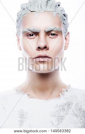 art man make up with white paint