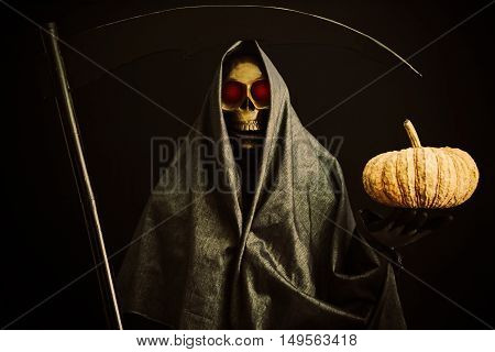 Halloween party or festival with angel of death, Nightlife with ghost or angel of death and picture concept by dark picture style, Ghost in fear night and go to the hell with angel of death.