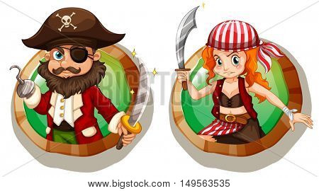 Male and female pirates on badges illustration