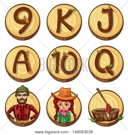 Lumber jacks and numbers on round badges illustration