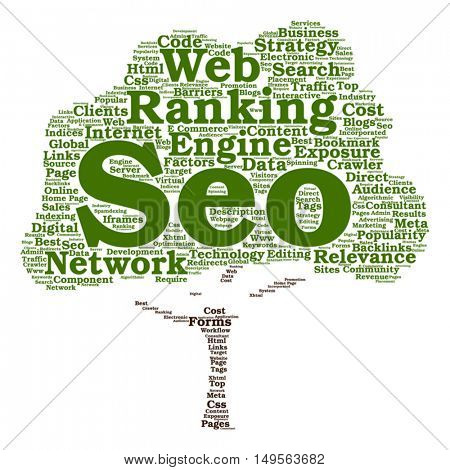 Vector concept conceptual search engine optimization, seo abstract tree word cloud isolated on background metaphor to marketing, web, internet, strategy, online, rank, result, network, top relevance