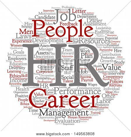 Vector concept conceptual hr or human resources management abstract round word cloud isolated on background