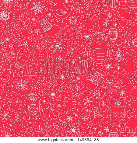 Christmas seamless pattern. Vector hand drawn outline winter elements. Fun doodle background for kids. Snowflake owl christmas tree mittens socks. On red background.