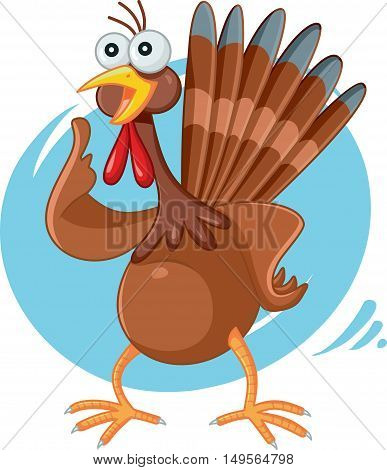 Scared Turkey Funny Vector Cartoon in Panic for Thanksgiving