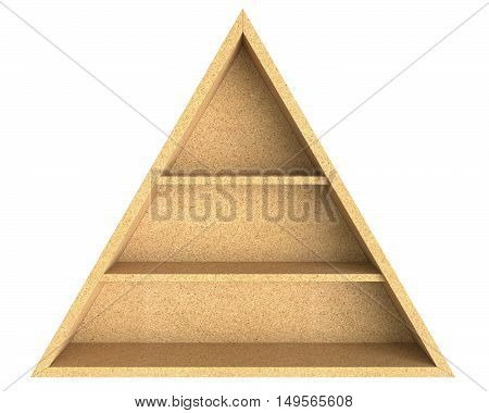 3D illustration empty triangle chipboard shelf isolated on white background