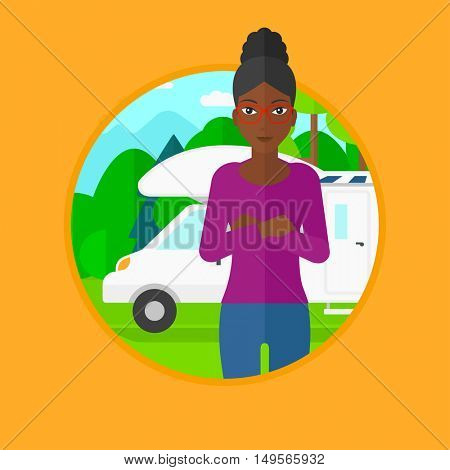 An african-american young woman standing in front of motor home. Woman with arms crossed enjoying her vacation in camper van. Vector flat design illustration in the circle isolated on background.