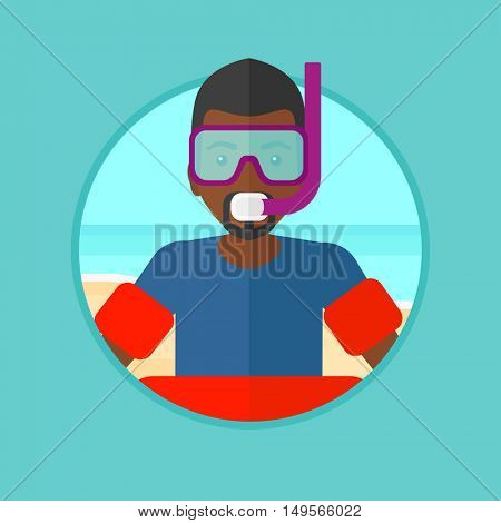 An african-american man in mask, tube and rubber ring standing on the sea beach. Man wearing snorkeling equipment on the beach. Vector flat design illustration in the circle isolated on background.