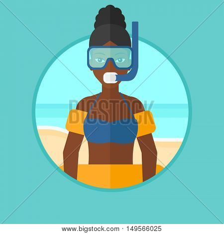 An african-american woman in mask, tube and rubber ring standing on the sea beach. Woman wearing snorkeling equipment on the beach. Vector flat design illustration in the circle isolated on background