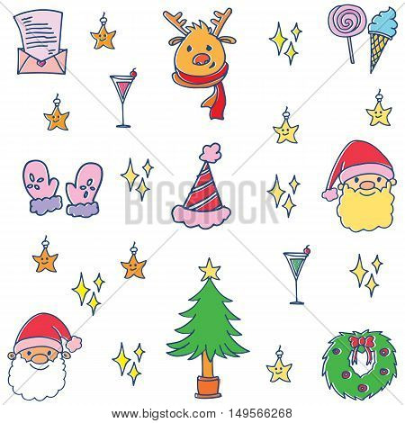 Doodle of cute christmas set collection vector art
