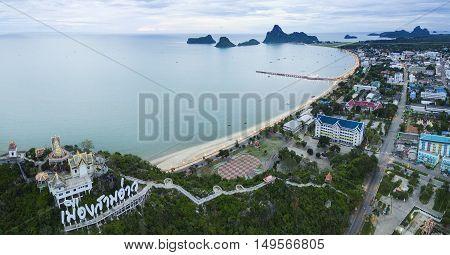 aerial view of prachaupkhirikan harbor southern of thailand