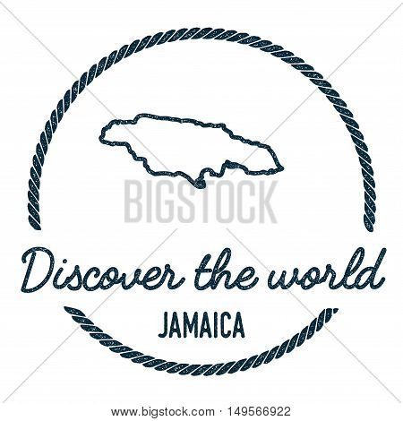 Jamaica Map Outline. Vintage Discover The World Rubber Stamp With Jamaica Map. Hipster Style Nautica