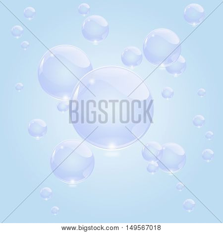 blue bubbles of soap in water background illustration