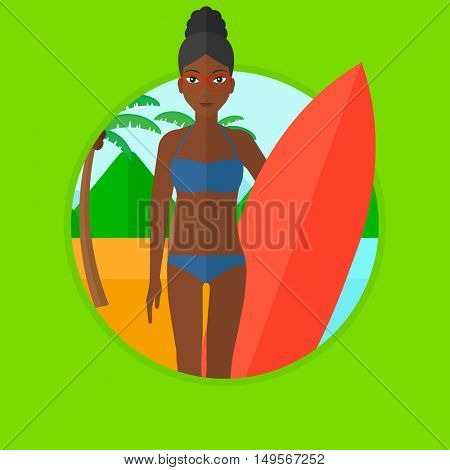 An african-american young surfer standing with a surfboard on the beach. Female professional surfer with a surf board at the beach. Vector flat design illustration in the circle isolated on background
