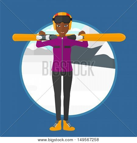 An african-american woman carrying skis on her shoulders on the background of snow capped mountain. Woman skiing in mountains. Vector flat design illustration in the circle isolated on background.