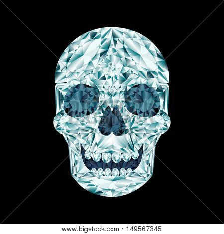 Diamond smiling crystal skull on black background