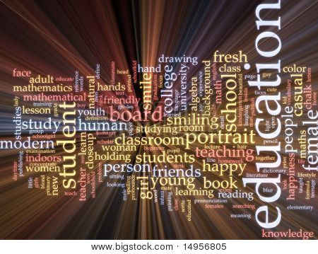 Word cloud concept illustration of education studies glowing light effect