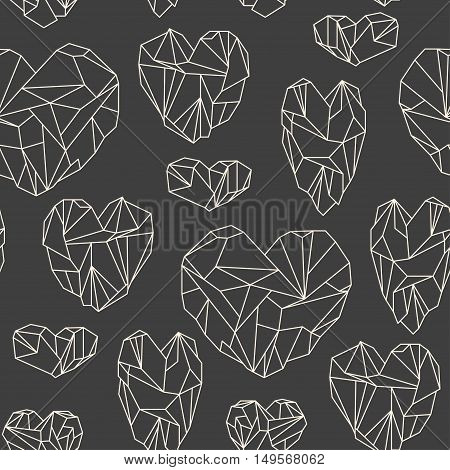 Seamless Pattern Made Of Mineral Heart-shaped Crystals On Grey Background
