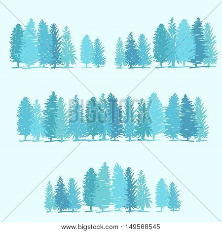Three Borders Made Of Pine Trees On Blue Background