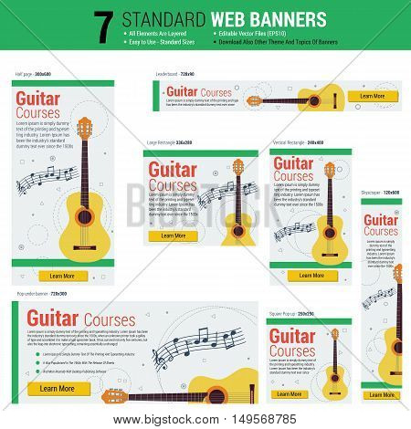 Vector template of seven web standard size banners on theme guitar courses. Most common sizes of banners