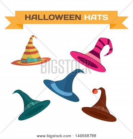 Set of multi-colored hats for Halloween. Vector flat cartoon illustration isolated on a white background