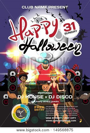 Vector helloween party invitation disco style. Night club dj women disco ball moon template posters or flyers