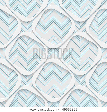 Seamless Square Pattern. White and Blue Wrapping Background. Abstract Modern Graphic Design
