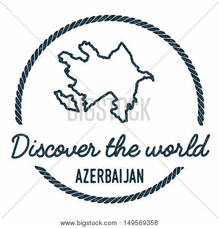 Azerbaijan Map Outline. Vintage Discover The World Rubber Stamp With Azerbaijan Map. Hipster Style N