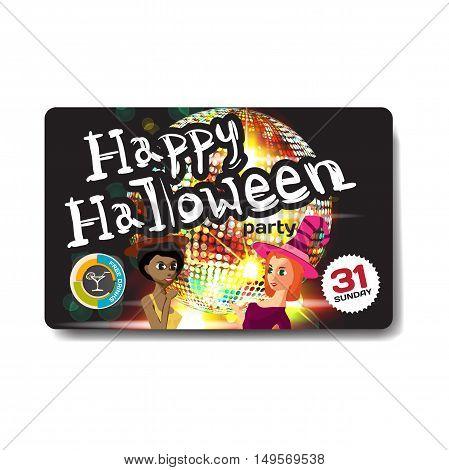 Vector helloween party invitation disco style. Night club dj women disco ball template flyers.