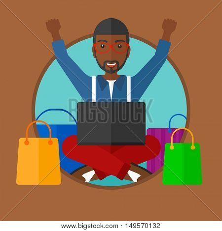 African-american man using laptop for shopping online. Customer sitting with shopping bags around him. Man doing online shopping. Vector flat design illustration in the circle isolated on background.