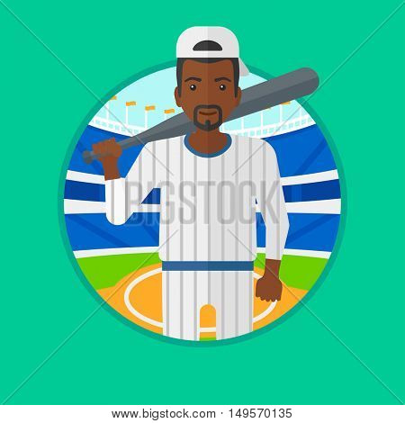 An african-american baseball player standing on a baseball stadium. Professional baseball player with a bat on his shoulder. Vector flat design illustration in the circle isolated on background.
