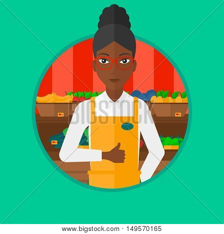 An african-american supermarket worker giving thumb up on the background of shelves with vegetables and fruits in supermarket. Vector flat design illustration in the circle isolated on background.