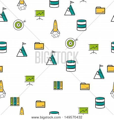 Vector seamless staptup pattern with scattered office and technology thin line icons on white square background