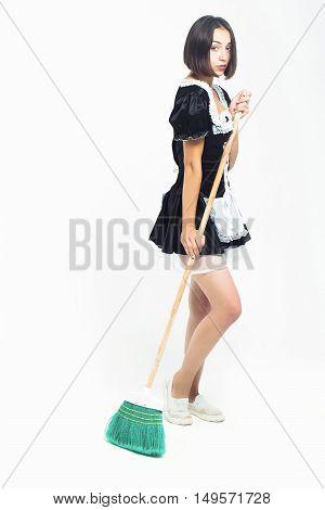 Brunette Girl In Maid Costume