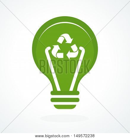 Bulb icon. Green energy concept. Flat cartoon power icons. Objects isolated on a white background.