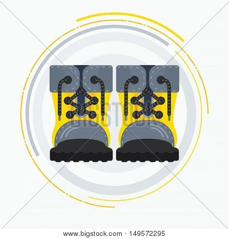 Shoe. Yellow boots. Yellow shoes for tourism work shoes. Flat cartoon boots illustration. Objects isolated on a white background.