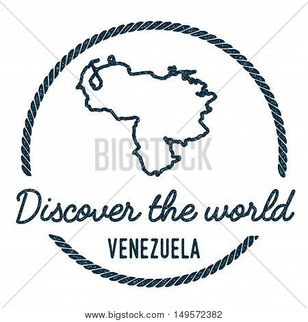 Venezuela, Bolivarian Republic Of Map Outline.. Vintage Discover The World Rubber Stamp With Venezue