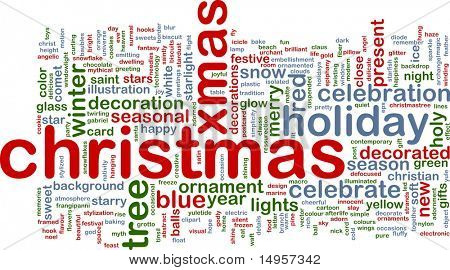 Word cloud concept illustration of christmas xmas