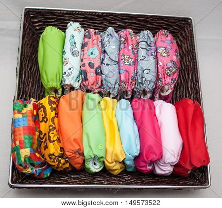 Cloth Diapers In The Basket