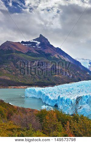 Los Glaciares National Park in Patagonia. Colossal Perito Moreno glacier in Lake Argentino. Wintry summer day