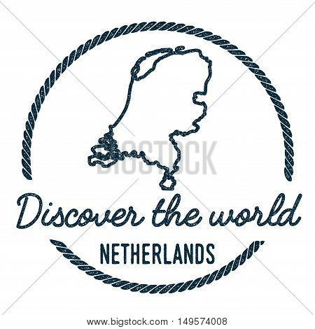 Netherlands Map Outline. Vintage Discover The World Rubber Stamp With Netherlands Map. Hipster Style