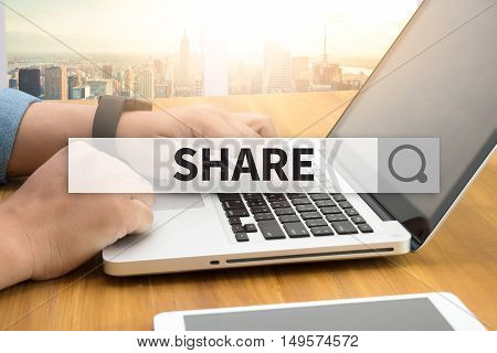 SHARE SEARCH WEBSITE INTERNET SEARCHING  business man work hard