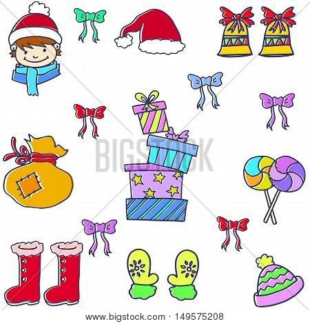 Doodle of elemenet christmas gift hat candy vector illustration