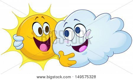 Happy sun and cloud hugging each other. Partly cloudy.